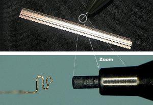 シャープペンシルの芯よりもさらに小さく、且つ精密に加工した製品